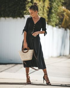 Simple Kind Of Life Pocketed Button Down Dress - Black