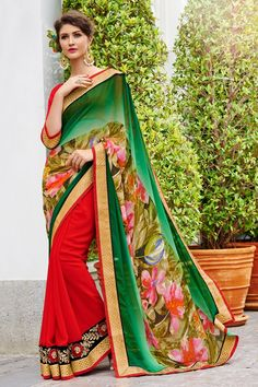 Georgette Print and Georgette Green  Partywear Saree 2150/-