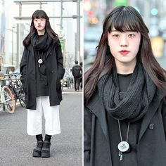 "When we met this 17-year-old student on the street in Harajuku, she told us that her name is ""X"". She's wearing a monochrome resale look with culottes and Yosuke platform sandals."