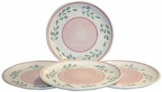 Caleca Pink Garland 4-Piece Dinner Plate Set, Service for 4 by Caleca. $50.66. Includes four art; 409 dinner plates. Chip-resistant. All natural majolica/ceramic components individually hand-painted with non-toxic glazes and colors. Pink Garland; most-sold pattern throughout the world, a simple rose-bud theme dainty and delicate with a romantic flair that appeals to just about everyone. Dishwasher safe; microwavable. Pink Garland. most-sold pattern throughout the world, a simple ...