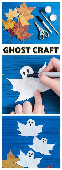 FUN KID PROJECT: Make ghost leaves (BOO-tiful Fall craft for kids) (autumn activities for kids teaching) Bee Crafts For Kids, Fun Projects For Kids, Diy For Kids, Fun Crafts, Kids Fun, Craft Kids, Autumn Art Ideas For Kids, Toddler Crafts, Crafts Toddlers