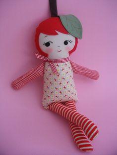 APPLE GIRL Plushie - kawaii handmade ragdoll plush toy christmas gift childrens toy art doll. $38.00, via Etsy.