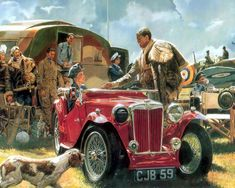 To The Victor, by James Dietz (Spitfire Mk I, RAF airfield, England, summer Aviation Theme, Aviation Art, Military Art, Military History, Vintage Cars, Antique Cars, Pinup, Mg Cars, Airplane Art