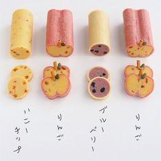 Instagram 上的 *えん93*:「 アイスボックスクッキーいろいろ*. . 左から、ハニーチップ、りんご、ブルーベリー♡. . 先日ストーリーで試作失敗したりんごのアイスボックスクッキー♪. ラズベリーパウダーで生地を着色してリベンジ*. . あ、. りんごに胡麻つけるの忘れた😅. . . #おやつ… 」