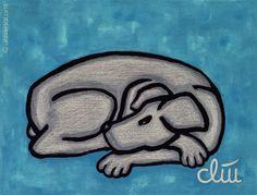 JACQUELINE DITT - Hund auf blauem Grund A4 Druck n.Gemälde Hunde Bilder dog Tier