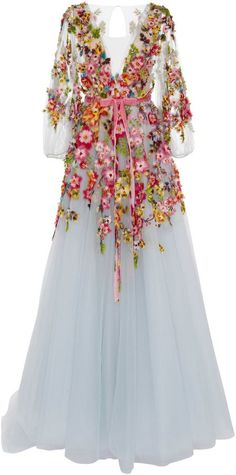 ♡ Marchesa Embroidered V-Neck Gown