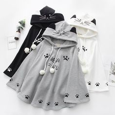 White / Grey / Black Kawaii Neko Paws Hoodie Poncho Cape The clothing culture is quite old. Kawaii Fashion, Lolita Fashion, Cute Fashion, Girl Fashion, Rock Fashion, Fashion Boots, Womens Fashion, Teen Fashion Outfits, Cool Outfits