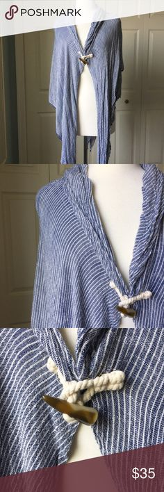 """Blue & White Striped Shawl Versatile blue and white striped shawl. ▪️Toggle closure ▪️Sides measure 21"""" long ▪️Longest length: 42"""" ▪️Worn once; like new  🚭 Smoke-free home 📬 Ships by next day 💲 Price negotiable  🔁 Open to trades  💟Happy Poshing!💟 Tops"""