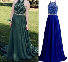 Halter A-Line Custom Made Long Prom Dress,Evening Dress,Charming Prom…