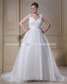 Amylinda™ Applique Beading Yarn V Neck Court Plus Size Bridal Gown Wedding Dresses