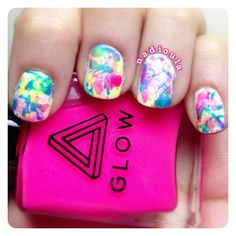 Splatter nails using Urban Outfitters Glow in the dark polish.