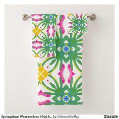Shop Springtime Watercolors bath towel set created by CelesteSheffey. Spa Towels, Bathroom Towels, Bath Towel Sets, Luxury Bath, Washing Clothes, Shower Curtains, Bathroom Accessories, Watercolors, Europe