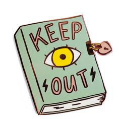 Keep Out Pin (135.650 IDR) ❤ liked on Polyvore featuring jewelry, brooches, pin brooch, pencil jewellery, pin jewelry, paper jewelry and paper jewellery