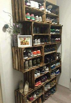 Storage using offset stacked crates... not just for shoes, of course.