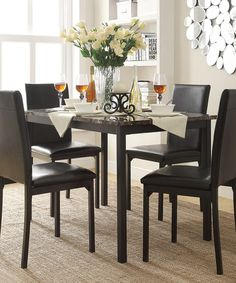 the casual feel of the bedford dining set is perfect kitchens and apartments this chic set features a faux marble table top accented by a - Kitchen Table And Chair Sets