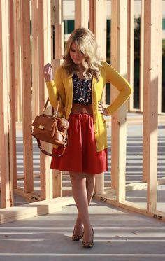 mustard cardigan  rust skirt  bird blouse  leopard pumps