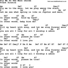 Song lyrics with guitar chords for Fly Me To The Moon - Frank Sinatra Song Lyrics And Chords, Guitar Chords For Songs, Music Chords, Guitar Sheet Music, Ukulele Songs, Music Lyrics, Music Songs, Ukulele Tabs, Music Stuff