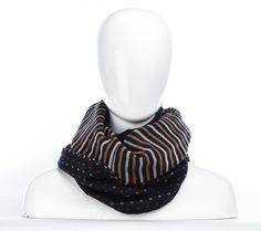 Foulard infini marine à coeurs et ligné / longue écharpe par Annie 50