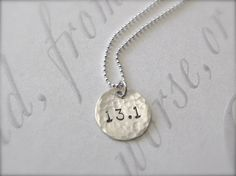 FREE SHIPPING - Half Marathon 13.1 Runner Necklace - Sterling Silver Sports Jewelry ****Want****