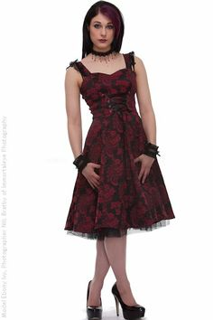 Red Brocade Knee Length Dress | Ladies Gothic Clothing