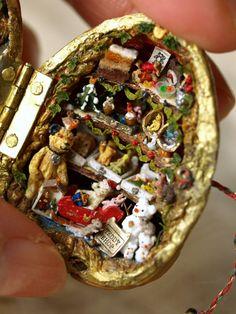 Teddy Bear shop in a Walnut Miniature Crafts, Miniature Dolls, Walnut Shell Crafts, Teddy Bear Shop, Acorn Crafts, Altered Tins, Minis, Tiny Dolls, Tin Boxes