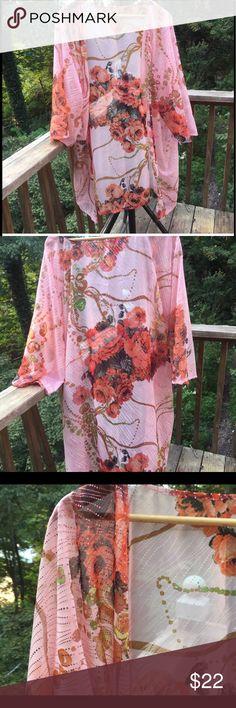 Roses and Metallic Pink Sheer Kimono Flattering and sexy sheer metallic embellished Kimono. XXL Jackets & Coats Vests