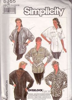 Simplicity Sewing Pattern Misses Loose Fitting Shirt Size 14 16 18 Uncut FF #Simplicity