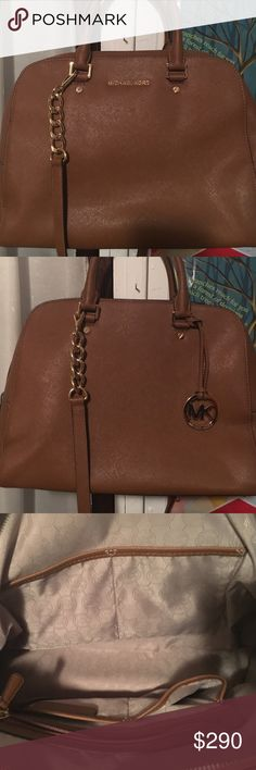 MC bag with short and long straps large MK bag brown leather Michael Kors Bags Shoulder Bags