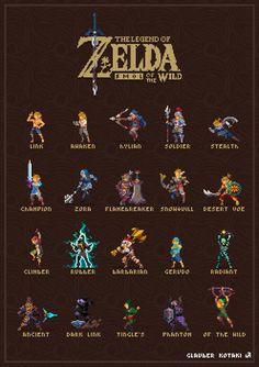 [OC][BoTW] smol of the wild - all armor sets in tiny pixel form! Visit blazezelda.tumblr.com