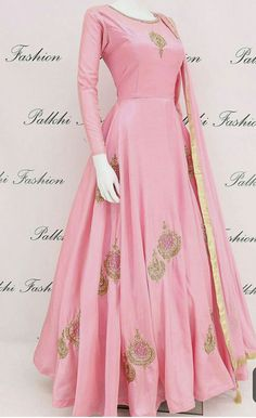 Light Pink Full Flair Soft Silk Outfit With Elegant Work From Palkhi Fashion Indian Fashion Dresses, Indian Gowns Dresses, Dress Indian Style, Indian Designer Outfits, Pakistani Dresses, Designer Party Wear Dresses, Kurti Designs Party Wear, Indian Wedding Outfits, Indian Outfits