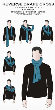 Poncho Style, Mens Casual Dress Outfits, Bandeau Bikini Tops, Sashay Yarn, Hooded Scarf Pattern, Fashion Infographic, Outfit Zusammenstellen, Scarf Knots, How To Make Scarf