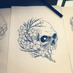 #illustration #linework #blackwork #tattoo #skull