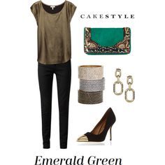 Emerald Green by cakestyle on Polyvore featuring Joie, Paige Denim, Dorothy Perkins, Matthew Williamson, Cara Accessories, Giles & Brother, skinny jeans, metallics, cuff bracelets and cap toe pumps