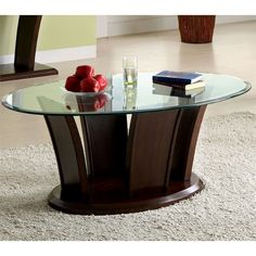Furniture of America Adrian Dark Cherry Beveled Glass Top Coffee Table (Dark Cherry), Brown Cherry Wood Coffee Table, Oval Coffee Tables, Glass Top Coffee Table, Oval Table, Wood Furniture Store, Table Furniture, Furniture Ideas, Kitchen Furniture, Furniture Cleaning