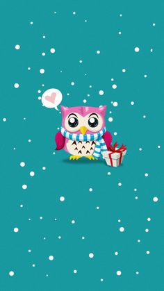 Holiday owl iPhone wallpaper