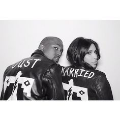 "Kim And Kanye's Wedding Photos | Love the edgy ""Just  Married"""