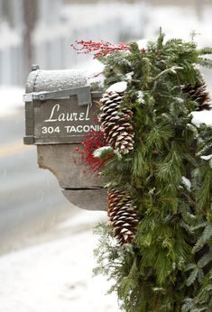 Make your home's exterior as festive as the inside with these outdoor holiday decorating ideas. Get inspired by gorgeous greenery, twinkling light displays, and other outdoor Christmas decorations that bring seasonal cheer to your doorstep. Merry Christmas, Country Christmas, All Things Christmas, Winter Christmas, Christmas Holidays, Christmas Wreaths, Christmas Greenery, Xmas, Christmas Clock