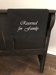 Reserved for family, fabric reserved sign, wedding pew sign, funeral pew sign, pew marker, pew sash, funeral sign Pantone Color, Wedding Pew Markers, Wedding Pews, Reserved Signs, White Embroidery, Charcoal Color, Funeral, Black Cotton