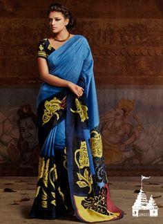 Blue Shaded Printed Bhagalpuri Silk Saree