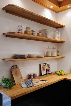 open shelves/ butcher block counters