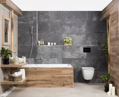 Bathroom Designs With Vintage Industrial Charm - nyamanhome Bathroom Accent Wall, Bathroom Accents, Wood Bathroom, Master Bathroom, Washroom, Bathroom Design Luxury, Bathroom Design Small, Bathroom Designs, Luxury Kitchens