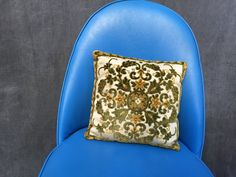 """60's Mid Century Crushed Velvet Square Throw Pillow - 12"""" by ElkHugsVintage on Etsy"""