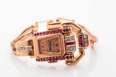 Antique $6000 2ct Ruby Diamond Signed PAUL DITISHEIM 14k Rose Gold Ladies Watch
