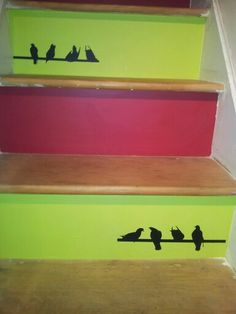 Newly decorated stair risers