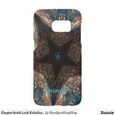 Elegant Batik Look Kaleidoscope Star Turquoise Case with Name