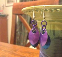 (I made this!) Blue & Purple Scale Earrings  Anodized Aluminum by tigermaille, $15.00
