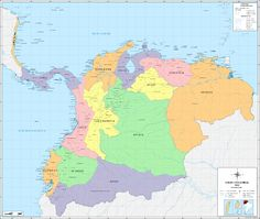 The 37 provinces and their departments, in the Republic of Gran Colombia from 1824 to South America Map, Central America, Latin America, Fantasy Map, Alternate History, Historical Maps, Big Picture, Cover Photos, Geology