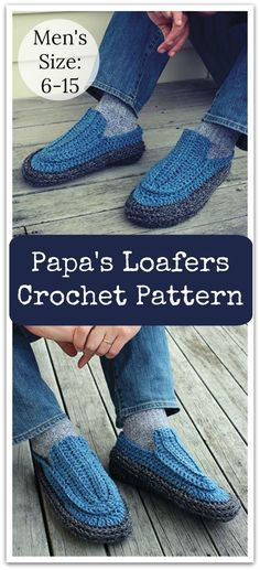 A great pair of manly loafer-style slippers for all the guys out there. Perfect for a father's day gift, or any occasion. PDF download available #ad #affiliate #crochet #pattern