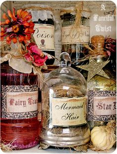 Labels & fun. From AFancifulTwist  http://www.etsy.com/shop/AFancifulTwist    Spells 6