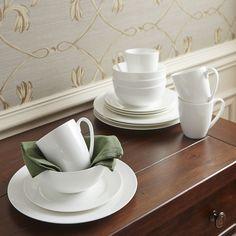 Pearl 16-Piece Rimmed Dinnerware Set